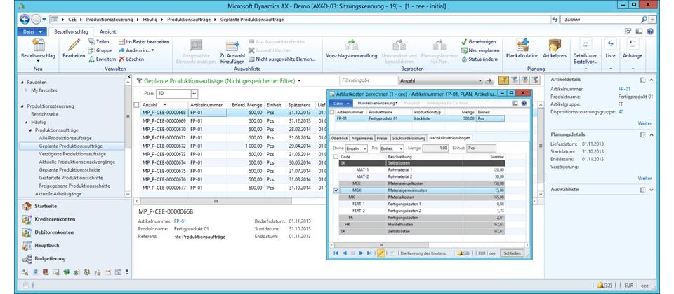 Detaillierte Umsatz-, Kosten- und Kapazitätsplanung